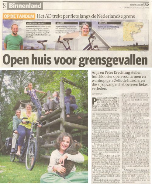 Ad kranten artikel over De Wonne in Glanerbrug
