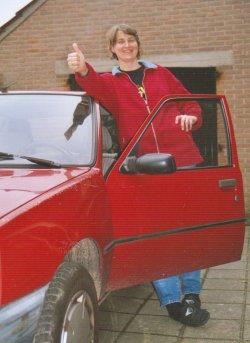 Anja met de nieuwe auto