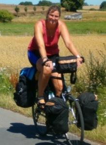 Anja op haar fiets
