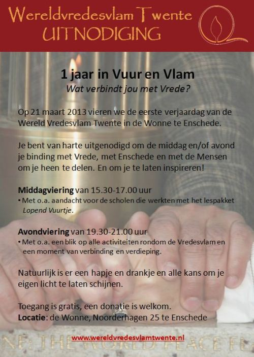 Uitnodiging 1 jaar Vredesvlam Twente
